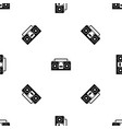 vintage tape recorder pattern seamless black vector image