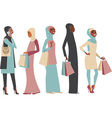 Muslim girls holding shopping bags vector image vector image