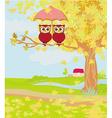 Owls couple under umbrella autumn day vector image
