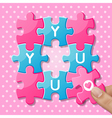 Jigsaw puzzle pieces with words you vector image