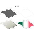 Tlaxcala blank outline map set vector image