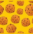 cookies pattern biscuit with chocolatet drops vector image