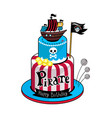 pirate party cake icon vector image