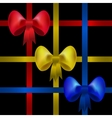 Set of red yellow and blue gift bows with ribbons vector image