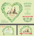 wedding invitationgreen branches bridegroom vector image