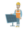 young african-american worker of solar power plant vector image