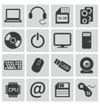 black computer icons set vector image