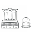 Dressing table with ornamented furniture vector image