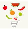 Fruits vegetables shopping cart center Flat vector image