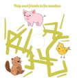 Help meet friends in the meadow child game vector image