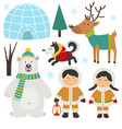 set of isolated arctic elements part 1 vector image