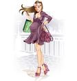 Shopping Pregnant Woman vector image