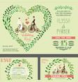 Wedding invitationgreen branches bridegroom vector image