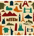 World landmark silhouettes pattern vector image