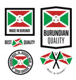 burundi quality label set for goods vector image