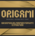 origami geometric font poster vector image