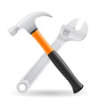 tools hammer and screw wrench vector image