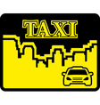Yellow taxi icon on flat design style vector image