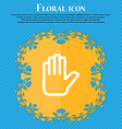 Hand print Stop Floral flat design on a blue vector image