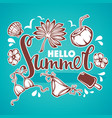 hello summer tropical background with palm vector image