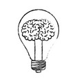light bulb with brain inside in black blurred vector image