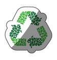 sticker green recycling symbol with arrows and vector image