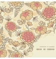 Vintage brown pink flowers frame corner pattern vector image