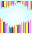 white background with colored pencils vector image