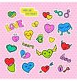 Fashion patch badges Pop art Hearts set Stickers vector image