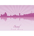 Seoul skyline in purple radiant orchid vector image