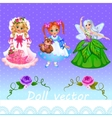 Girls doll and fairy on a purple background vector image