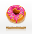 one donut glazed with pink caramel sprinkles eleme vector image