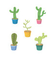 cactus on pot cartoons icons vector image