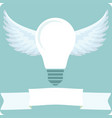 icon light bulb lamp with wings vector image