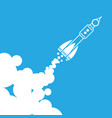 linear rocket icon with clouds - vector image