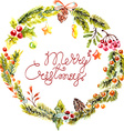 Watercolor Christmas floral frame vector image
