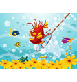 Monster fish in water vector image