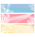 BannersInPastelColorsWithFloralElementsAndSwirls vector image vector image