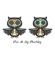 Greeting card with sugar skull owls Traditional vector image