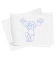 A paper with a drawing of a young fat boy vector image vector image