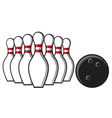 bowling pins and bowling ball vector image vector image