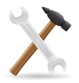 tools hammer and spanner vector image