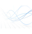 Blue swoosh waves perspective background vector image vector image