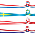 european flag ribbon flag set vector image