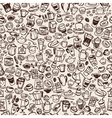 doodle coffee seamless background vector image