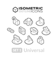 Isometric outline icons set 1 vector image