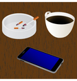 Cup of coffee Ashtray Cigarettes Mobile device vector image