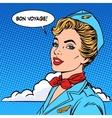Bon voyage stewardess tourism travel flight vector image