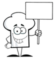 Chef Hat Guy Holding A Blank Sign vector image vector image