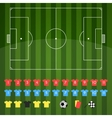 Football field and football icons for strategy vector image